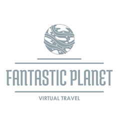 fantastic planet logo simple gray style vector image