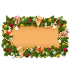 Fir frame with paper scroll vector