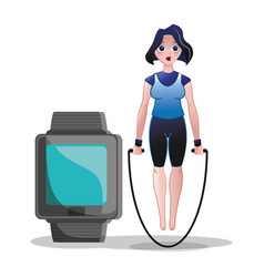 Fitness woman jump rope watch sport vector