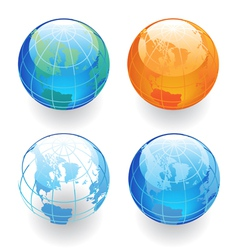 Four Globes vector image vector image