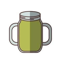 Green jar jam delicious juicy handle shadow vector