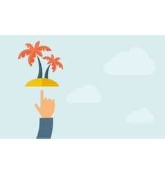 Hand pointing palm tree vector
