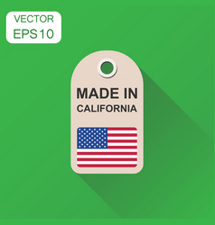 Hang tag made in california with flag icon vector