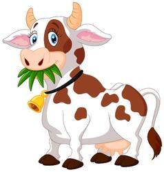 Happy cartoon cow vector image