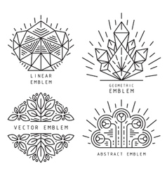 linear abstract emblems vector image vector image