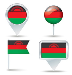 Map pins with flag of malawi vector