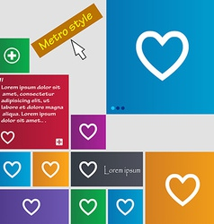 Medical heart love icon sign metro style buttons vector