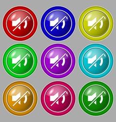 Mute speaker sign icon Sound symbol Symbol on nine vector image vector image