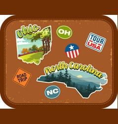Ohio north carolina travel stickers vector
