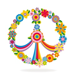Peace sign made of flowers vector image vector image