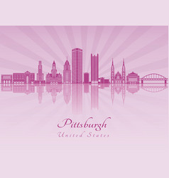 Pittsburgh v2 skyline in purple radiant orchid vector