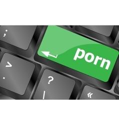 Porn button on keyboard - social concept keyboard vector