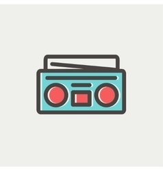 Radio cassette player thin line icon vector image