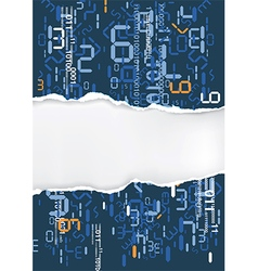 Ripped paper with digital numbers vector
