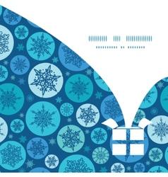 Round snowflakes christmas gift box vector