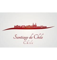 Santiago de chile skyline in red vector
