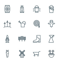 Set of 16 farm icons includes root bugbear vector