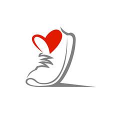 shoe symbol icon on white vector image