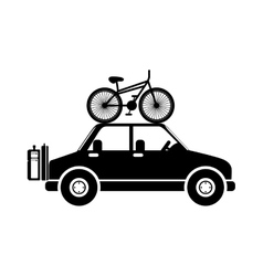 Silhouette transporting bicycle and baggage vector
