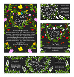 Spring greeting sale banner flowers poster vector
