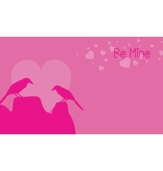 Two bird on pink backgrounds valentine day vector