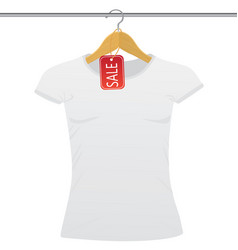 white t-shirt on a hanger with sale tag vector image
