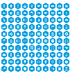 100 tea time food icons set blue vector