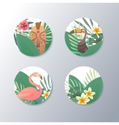 Bright with plants and birds vector image