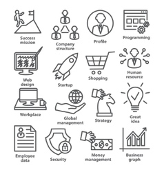 Business management icons in line style pack 29 vector