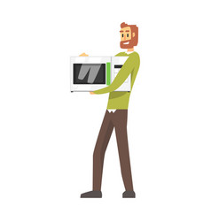 Man holding microwave oven department store vector