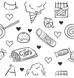 Doodle of candy sweet various collection vector