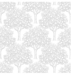 Seamless pattern with orange trees vector
