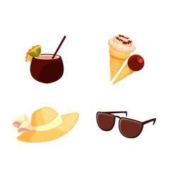 Straw hat sunglasses ice cream coconut cocktail vector