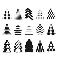 set of Christmas trees vector image