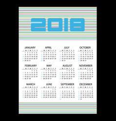 2018 simple business wall calendar with vector image