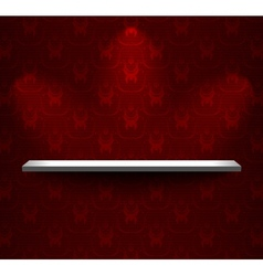 Shelf with red wallpaper vector