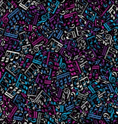 Pink and blue musical notes seamless pattern over vector