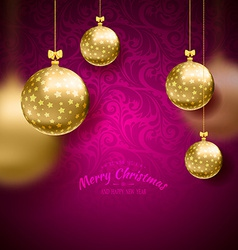 Christmas card with balls background vector
