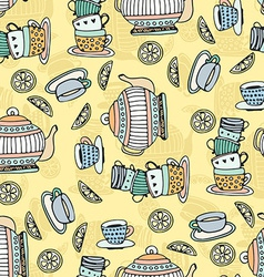 Tea cups seamless pattern vector