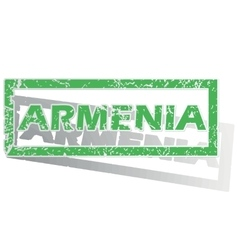 Green outlined armenia stamp vector