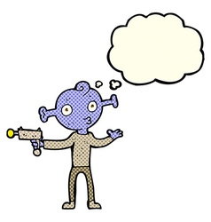 Cartoon alien with ray gun with thought bubble vector