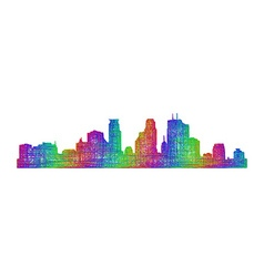Minneapolis skyline - multicolor line art vector