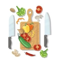 Cutting board and vegetables cooking card poster vector