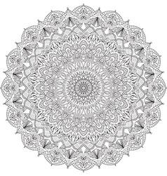 Complex detailed black Mandala on white background vector image