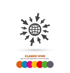 Go to web icon globe with mouse cursors vector