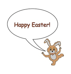 A funny Easter bunny rabbit with a speech bubble vector image vector image