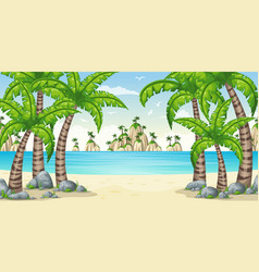 A tropical coastal landscape vector