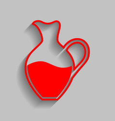 Amphora sign red icon with soft shadow on vector