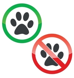 Animal permission signs set vector