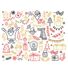Big set of christmas design element in doodle vector